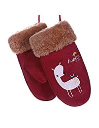 Rrunzfon Kids/Children Thick Fur Mittens Gloves Cute Rabbit Acrylic Glove with Strings -Wine red