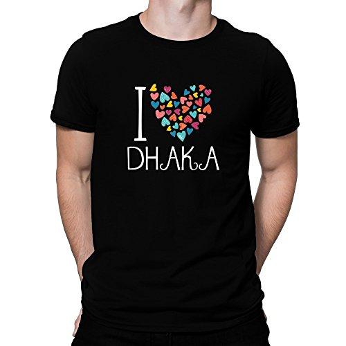 Teeburon I love Dhaka colorful hearts T-Shirt