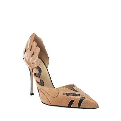 sergio-rossi-tan-black-snake-print-leather-dorsay-pump