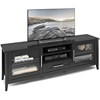 CorLiving TJK-604-B Jackson Extra Wide TV Bench, 80, Black Wood Grain