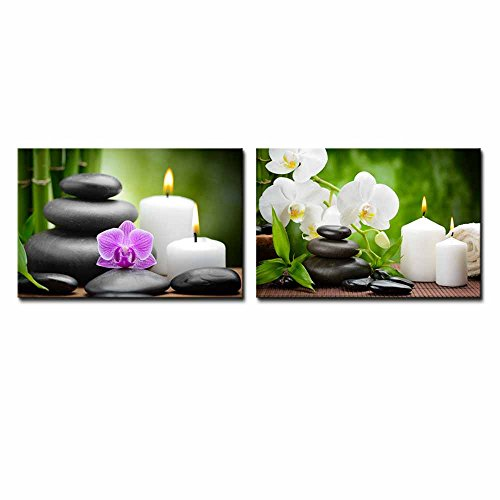 Zen Basalt Stones and Orchid on the Wood Wall Decor ation x 2 Panels