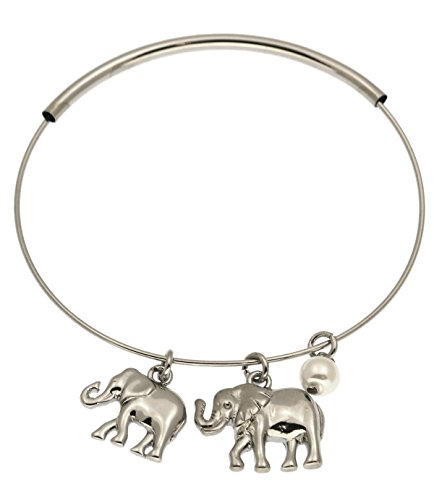 [Lucky Charma Adjustable Hollow Brass Tube Elephant Charm Bangle Bracelet] (Brass Elephant Charm)