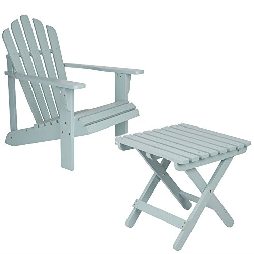 Shine Company Inc. Adirondack Square Folding Table with Westport Adirondack Chair - Dutch Blue