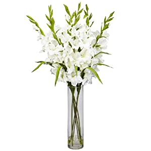Amazon Com Nearly Natural 12401240 Wh Large Gladiola With