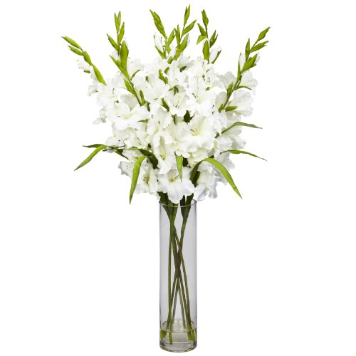 Amazon Nearly Natural 1240 Wh Large Gladiola With Cylinder Vase