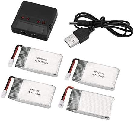 4 baterías Li-po de 3,7 V 1200 mAh con cargador 4 en 1 para dron ...