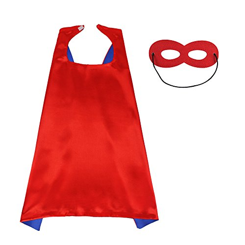 D.Q.Z Superhero Cape and Mask for Kids Adults Reversible Dress Up Costume Party -
