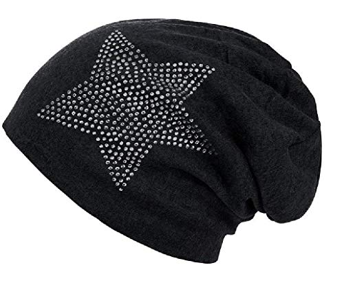 (Classic and Fashionable Soft Knit Beanie Cap Hat with Rhinestone Star for Woman (Black))