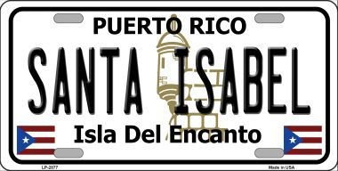 santa-isabel-puerto-rico-novelty-state-background-vanity-metal-novelty-license-plate-tag-sign