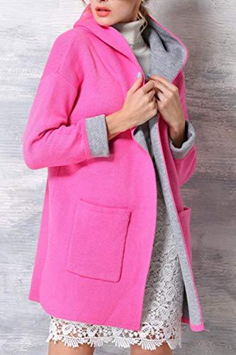Encapuchado Color Mujer Elegante Fashion Larga Abiertas Gabardina Largos Sólido Bolsillos Battercake Primavera Outerwear Otoño Rojo Manga Casuales Mujeres Parkas Abrigos Chaqueta Con CfXnwq5P