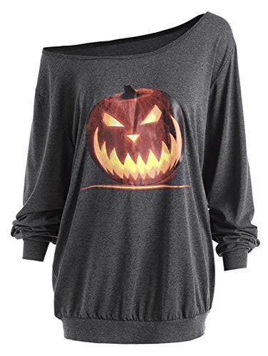 Women T-Shirts Skeleton Sexy Off Shoulder Shirt Halloween Pumpkin Devil Pullovers Tops,Gray-Pumpkin,4XL]()