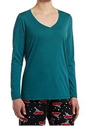 Hue Womens Long Sleeve V-Neck Sleep Tee Pajama Top