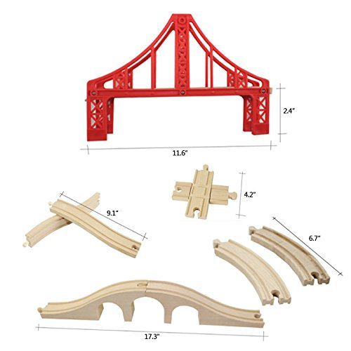 OrgMemory Wooden Train Track Set, Wooden Railway, Suspension Bridge, Viaduct Bridge, Cross Track, Curved Track and Stop Track Compatible with All Major Brands