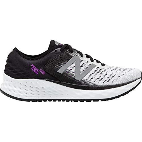 New Balance Women's 1080v9 Fresh Foam Running Shoe, White/Black/Voltage Violet, 9 M US