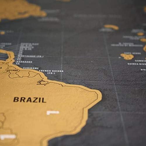 Farbe S Jacobden Gold Scratch Map Scratch Map Gr/ö/ße Schwarz Gold Schwarz Luxury Edition Weltkarte Perfekt f/ür Reisende Karte Folienbeschichtung
