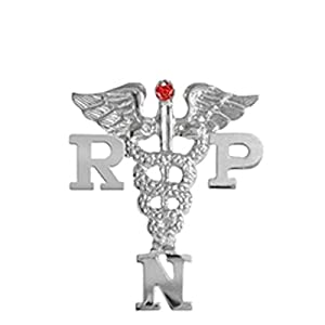 NursingPin Registered Practical Nurse RPN Graduation Nursing Pin with Ruby in Silver