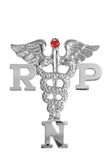 NursingPin Registered Practical Nurse RPN Graduation Nursing Pin with Ruby in Silver
