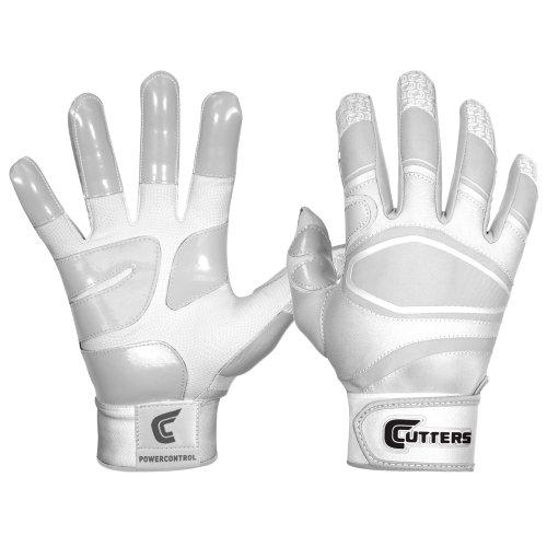 Cutters Gloves Men's Power Control Baseball Batting Glove, White/White, Large