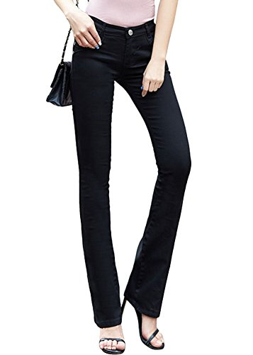 Smibra Womens Casual Mid Waist Bootcut Stretch Jeans Pants Solid ()