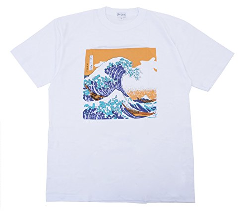 428DROPP Japan Cool Katsushika Hokusai The Great Wav T-Shirt White Medium (Japan White Tee)