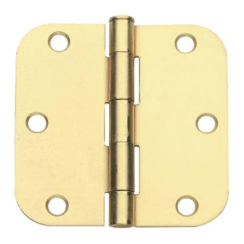 3.5 in. x 3.5 in. Satin Brass Plain Bearing Steel Hinge with 5/8 in. Radius - Set of 2 ()