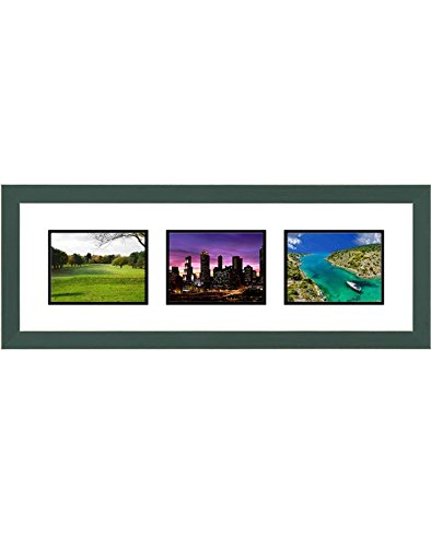 Frames by Mail Triple Square Opening Collage Frame for 8 x 6 Photo Green