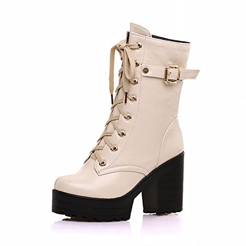 Carolbar Womens Lace up Buckle Zipper Retro Vintage Platform High Chunky Heel Short Boots Beige