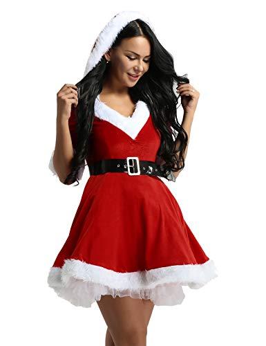 iiniim Disfraz Miss Santa Navidad Vestido de Lujo con Capucha Cosplay Traje de Terciopelo para Mujer Chica Sra. Mamá Noel Tutú Rojo con Cinturón Ropa de Fiesta Manga Corta