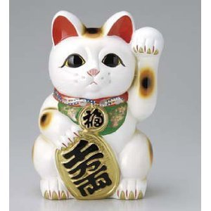 常滑焼白小判猫左手 8号(千万両) 招き猫 貯金箱 L-2323 B00J64N5JE