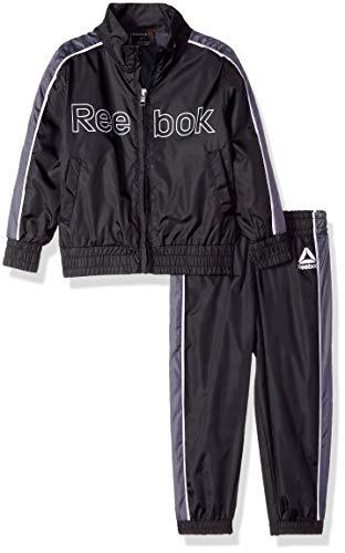 Reebok Boys' Toddler Nylon Retro Windsuit Zip Up Jacket and Jog Pant, Black, ()