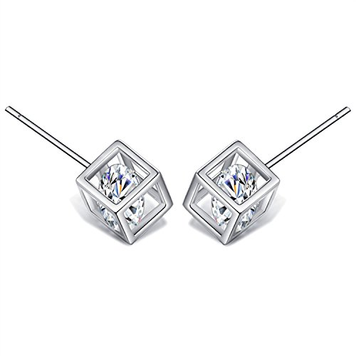 Silver Cube Earrings - 925 Sterling Silver Square Stud Earrings For Women With AAA Cubic Zirconia
