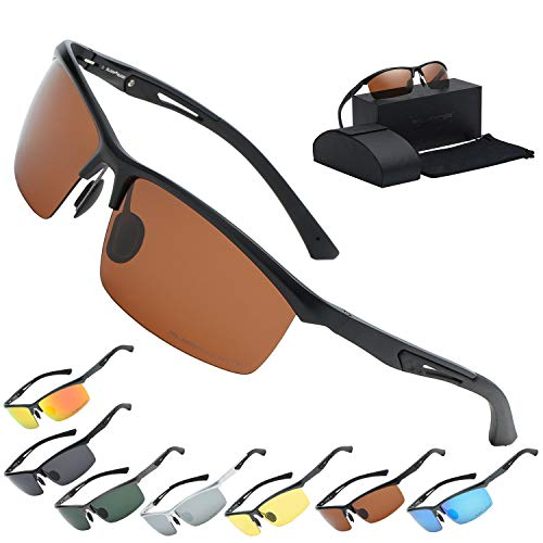 (Xloop Polarized Rectangular Al-Mg Metal Semi Rimless Fishing Sunglasses For Men)