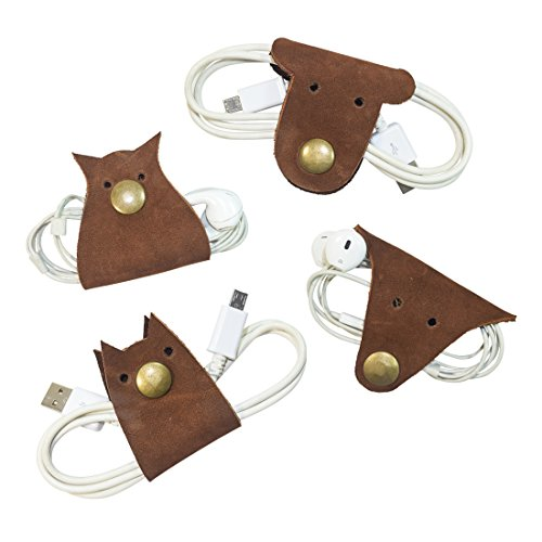 Furry Friends 4-Pack Cord Keeper (Cord Clam) Handmade by Hide & Drink :: Swayze Suede by Hide & Drink
