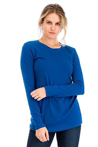 (Casual Cotton Crew Neck Long Sleeve T-Shirt Top Sapphire 3X)