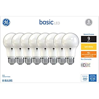 GE Lighting 37033 Light Bulb General Purpose Basic A19 Soft White LED 5.5 (40-Watt Replacement), 380-Lumen Medium Base, 8-Pack, 8