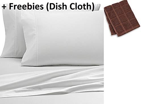 Wamsutta 500-Thread-Count PimaCott FULL Sheet Set in WHITE + Freebies (Dish Cloth) (Wamsutta Sheets Full)