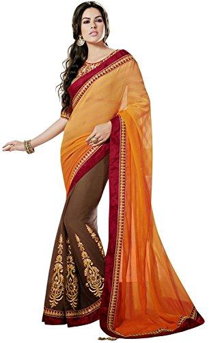 Gorgeous Lehenga Saree (INMONARCH Womens Gorgeous Orange And Brown Faux Chiffon Saree SSA8018 stitched)
