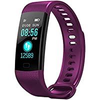 Smart Watches XS for iPhone,MeiLiio Women Purple Waterproof Bluetooth Wrist Color Screen Smart Wristwatch Blood Pressure Heart Rate Bracelet Activity Fitness Tracker for Running Gym Exercise (Purple)