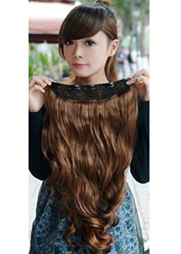 Vibola Masquerade One Piece Long Curl/Curly/Wavy Hair Extension Clip-on Hair Wig Wave head (Corn Roll Hairstyle)