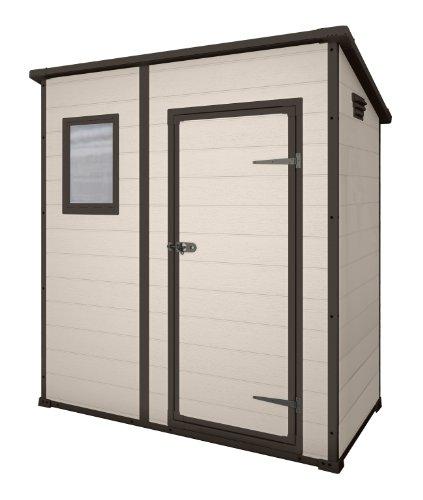 Keter Manor Pent Resin Outdoor Garden Storage Shed, 6 x 4 ft., Large – Beige