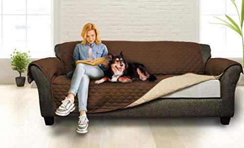 Designer Linens Sofa Slipcover Reversible Sofa Cover Furniture Protector Couch Cover Elastic Straps Pets Kids Children Dog Cat (Chocolate-Natural)