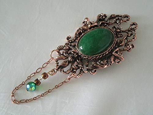 Copper Goddess Brooch cloak pin handmade jewelry wiccan pagan wicca witch witchcraft green onyx