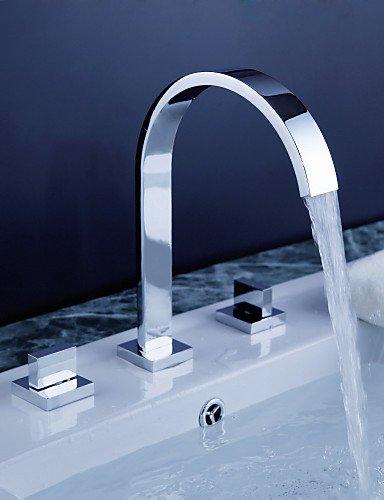 Waschbecken Wasserhahn Weiß verbreiteten Zeitgenössischen Design Wasserhahn Chrom-Finish