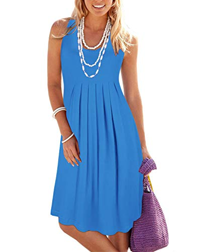 - KILIG Women's Summer Casual Loose Pleated Solid Color Sleeveless Vest Dresses(Blue_2,L)