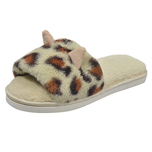 Midress Womens Fashion Leopard Printed Slippers Slip-On Soft Sole Indoor Slipper Casual Open Toe Shoes Winter Warm Slippers