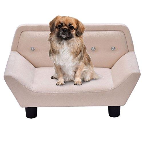 Giantex Pet Lounge Sofa Dog Puppy Bed Soft Velvet Warm Ultra Plush Snuggle Beige (Lounge Pet)