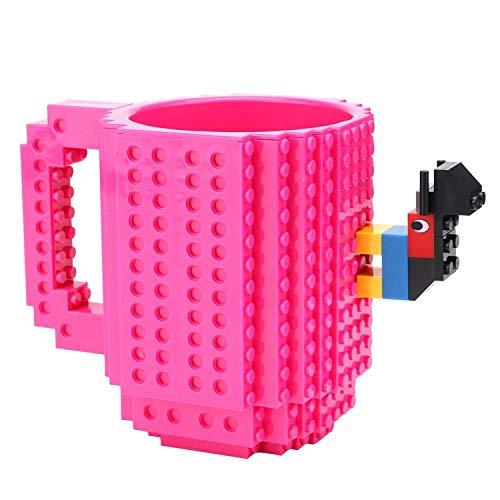 1Pc 12oz Coffee Mug Build On Brick Mug Type Building Blocks Cup DIY Block Puzzle Mug Drinkware Drinking Mug 11 Colors,Rose red ()