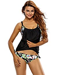 Women's Push Up Tankini Black Floral Bathing Suit 2 Piece Hawaiian Swimsuit