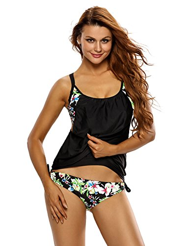 HDE Women's Push Up Tankini Black Floral Bathing Suit 2 Piece Hawaiian Swimsuit
