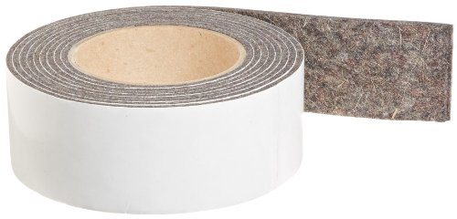 Synthetic Wool Felt (Grade F13 Pressed Wool Felt Strip, Gray, Meets SAE J314, Adhesive Backed, 1/8